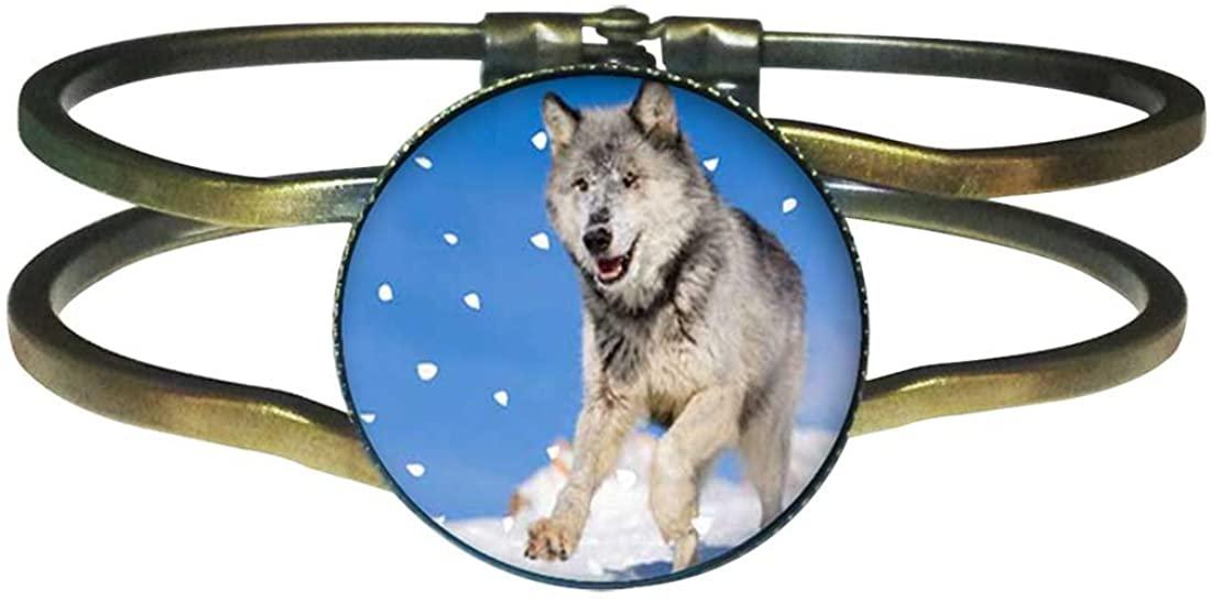 GiftJewelryShop Bronze Retro Style Running Wolf 25mm Round Cuff Bangle Bracelet Fashion Jewelry #9