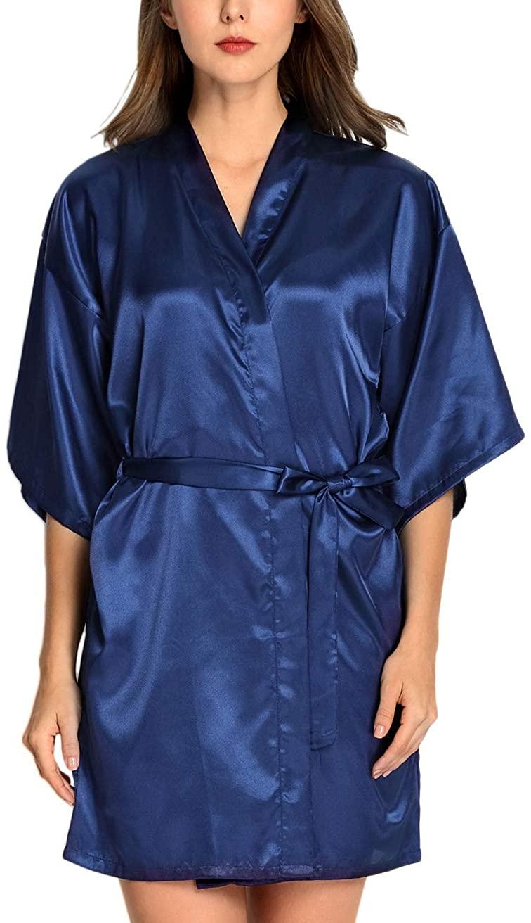 Anzermix Women's Extra Soft Bridesmaid Wedding Party Satin Short Kimono Robes - Navy XL