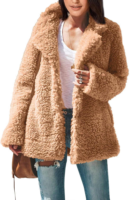 ROSKIKI Women's Fashion Long Sleeve Lapel Faux Shearling Shaggy Oversized Coat Jacket with Pockets Warm Winter