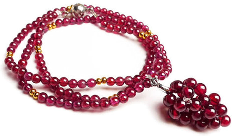 Genuine Purple Natural Garnet Quartz Crystal Round Bead Woman Necklace 4mm