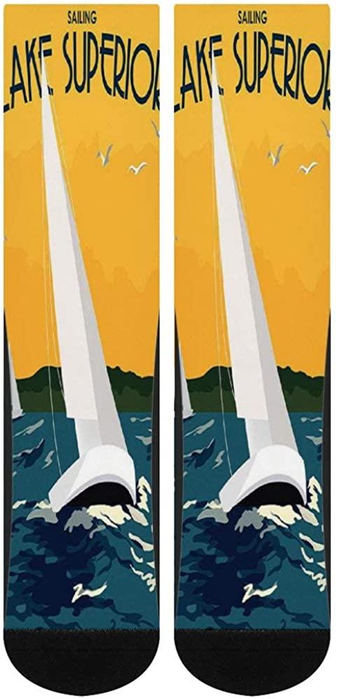Women's Men's Crazy Lake Superior Shore Towns Poster Sailing Custom Socks Personality Creative Casual Crew Socks