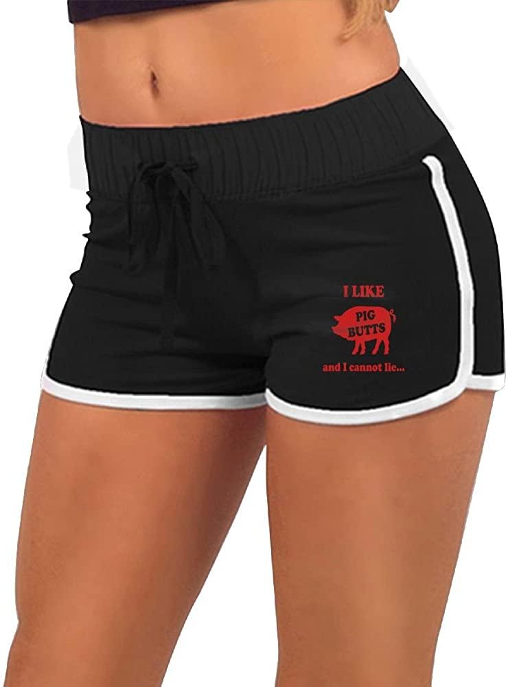 I Like Pig Butts Women's Sexy Low Waist Hot Pants Yoga Pants Beach Shorts
