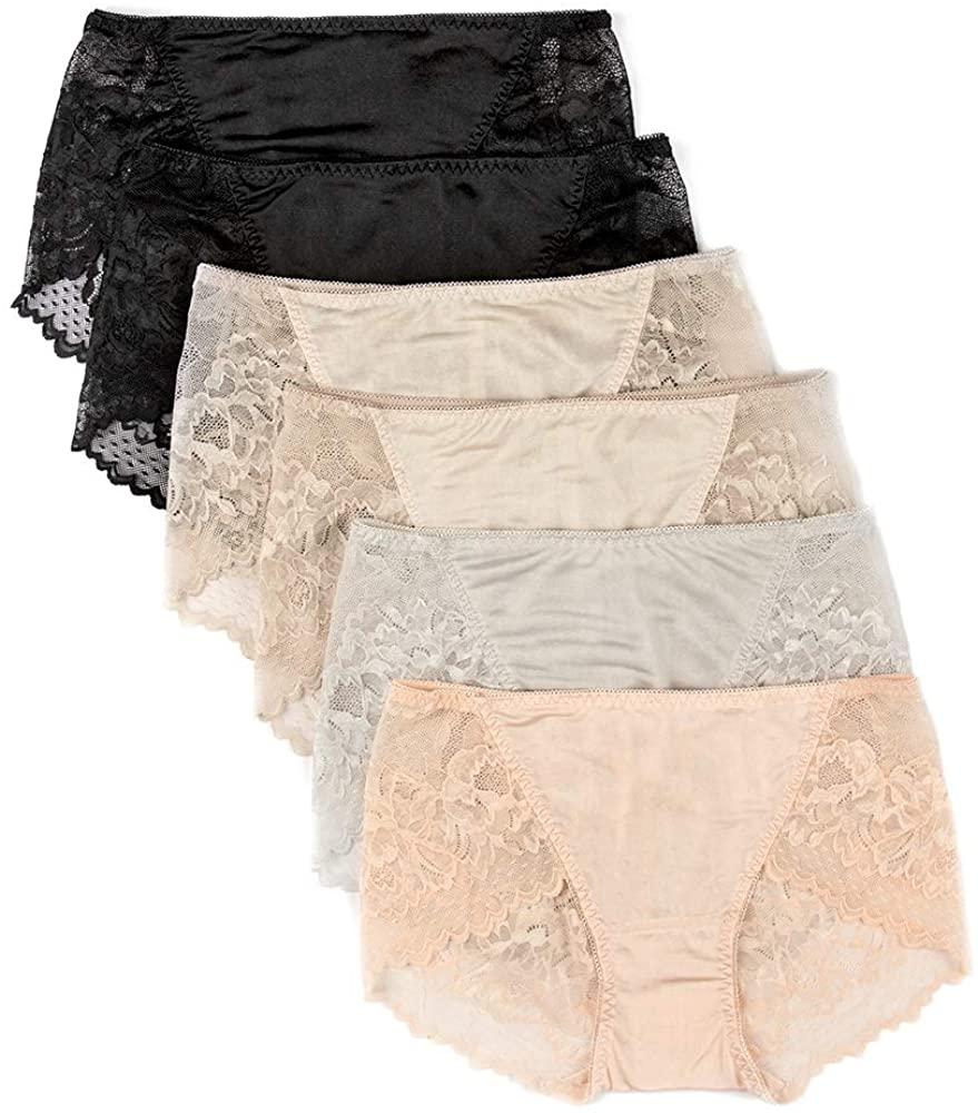 LilySilk Women's Silk Panties Ladies Lace Briefs Sexy Soft Underwear Bikini Floral Sexy Travel