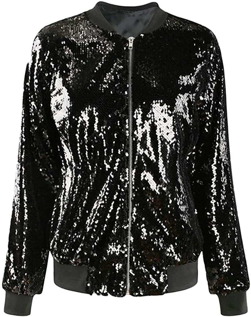 Wndxfhdscd Women's Casual Sport Sequins Loose Fit Baseball Jacket Bomber Coat Outwear