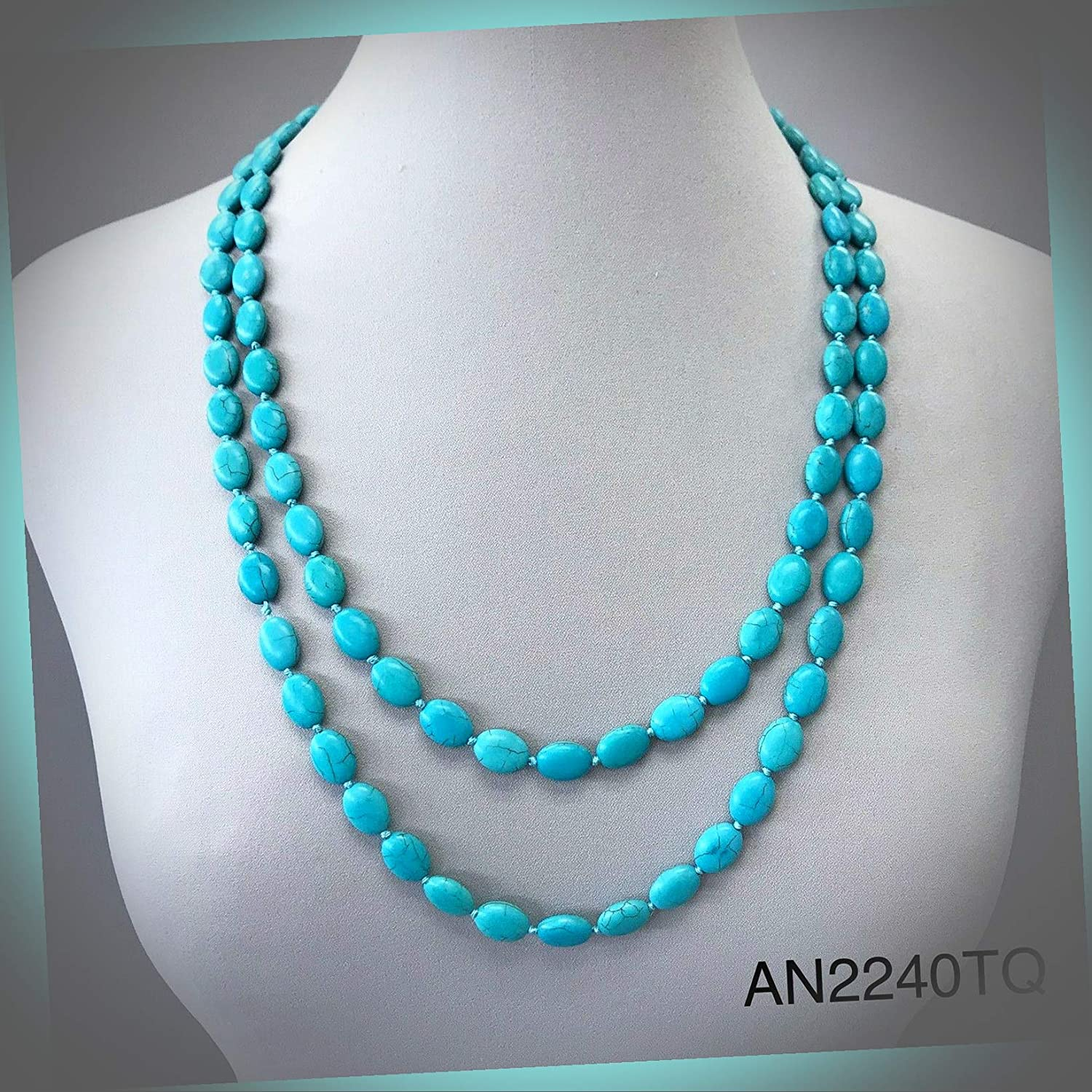New Bohemian Wrap Around Long Oval Flat Knotted Smooth Turquoise Beaded Wonderful Necklace ALI-N1934E Gift for Women Girls Charm Necklace by InnaBest