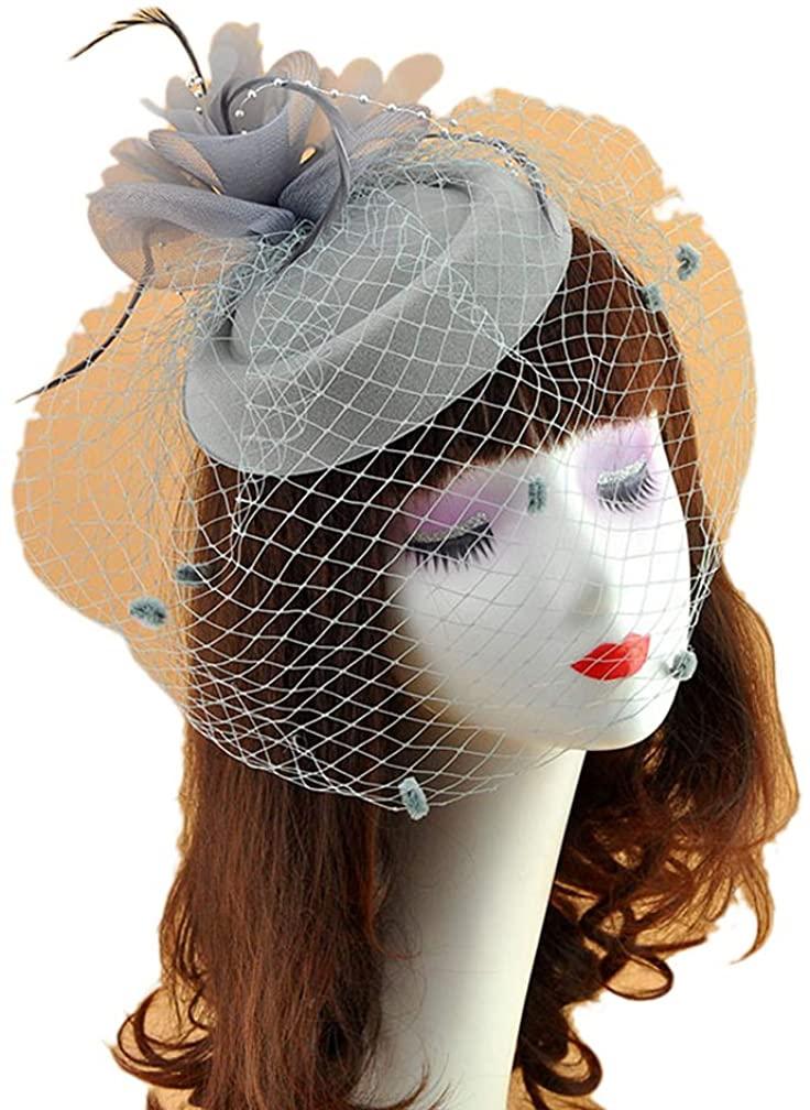 Ealafee Women's Feather Fascinator Hats Tea Party Veil Hat Wedding Headpieces