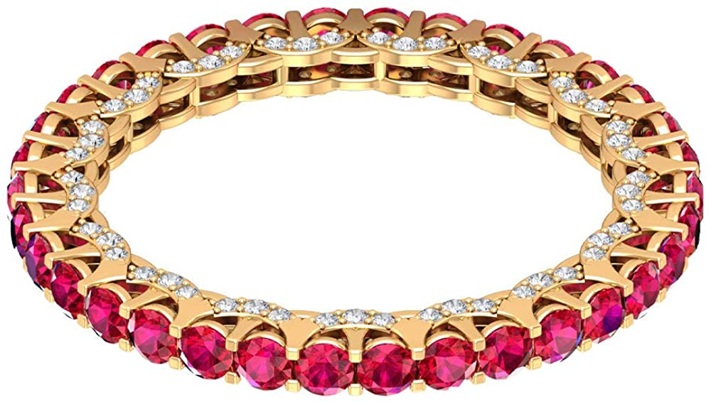 1.7 Ct Classic Ruby Gold Wedding Band Ring, Statement Anniversary Ring, 0.37 Ct Certified Diamond Bridal Promise Ring, Unique Women Eternity Ring, 14K Gold