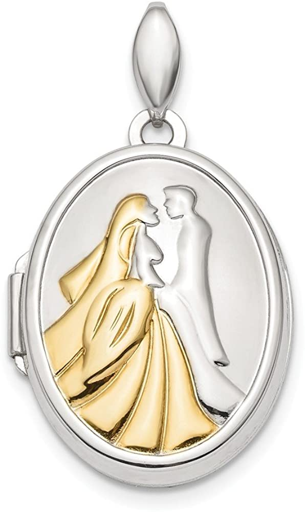 Solid 925 Sterling Silver and Gold-tone Bride and Groom Oval Locket Pendant - 24mm x 17mm