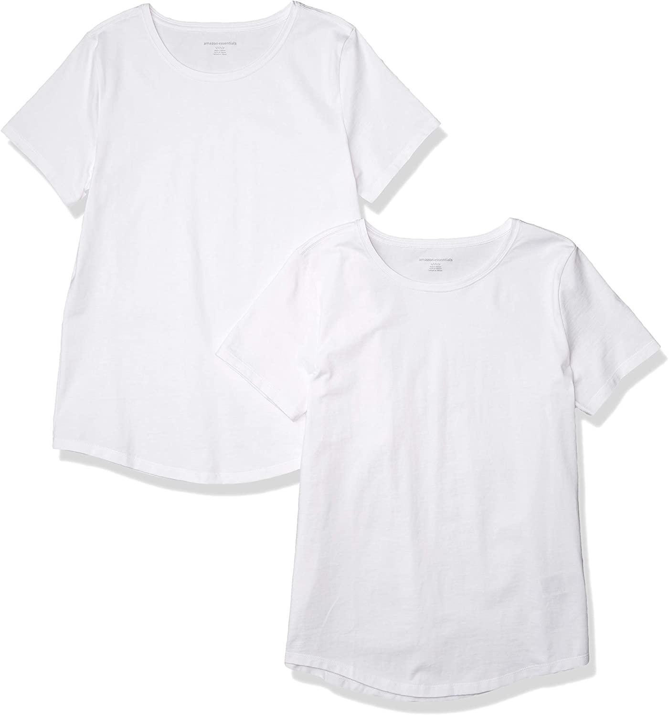 DHgate Essentials Women's 2-Pack Classic-Fit 100% Cotton Short-Sleeve Crewneck T-Shirt