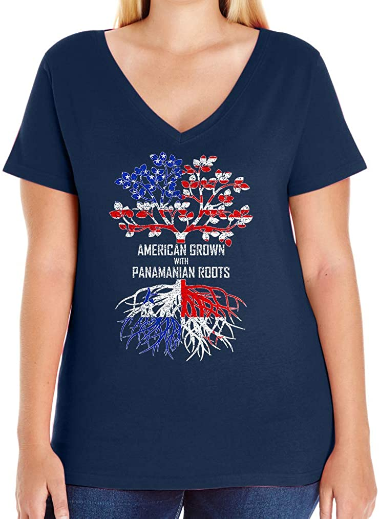Tenacitee Women's American Grown with Panamanian Roots V-Neck T-Shirt