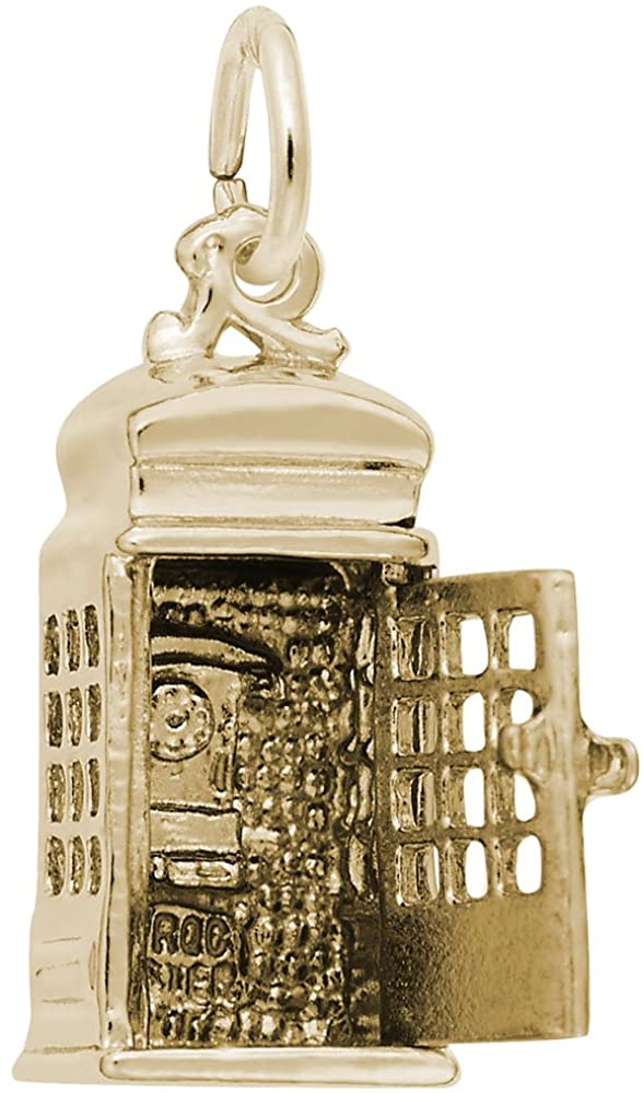 10k Yellow Gold Phone Booth Charm, Charms for Bracelets and Necklaces