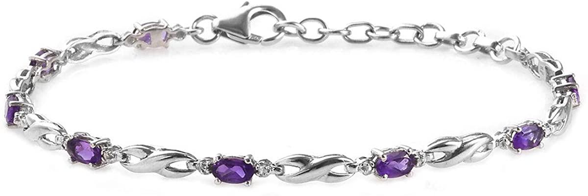 Shop LC Delivering Joy Platinum Plated 925 Sterling Silver Oval Amethyst Bracelet for Women Size 8