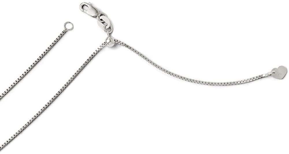 Solid 14K White Gold .9 mm Adjustable Box Chain Necklace 22