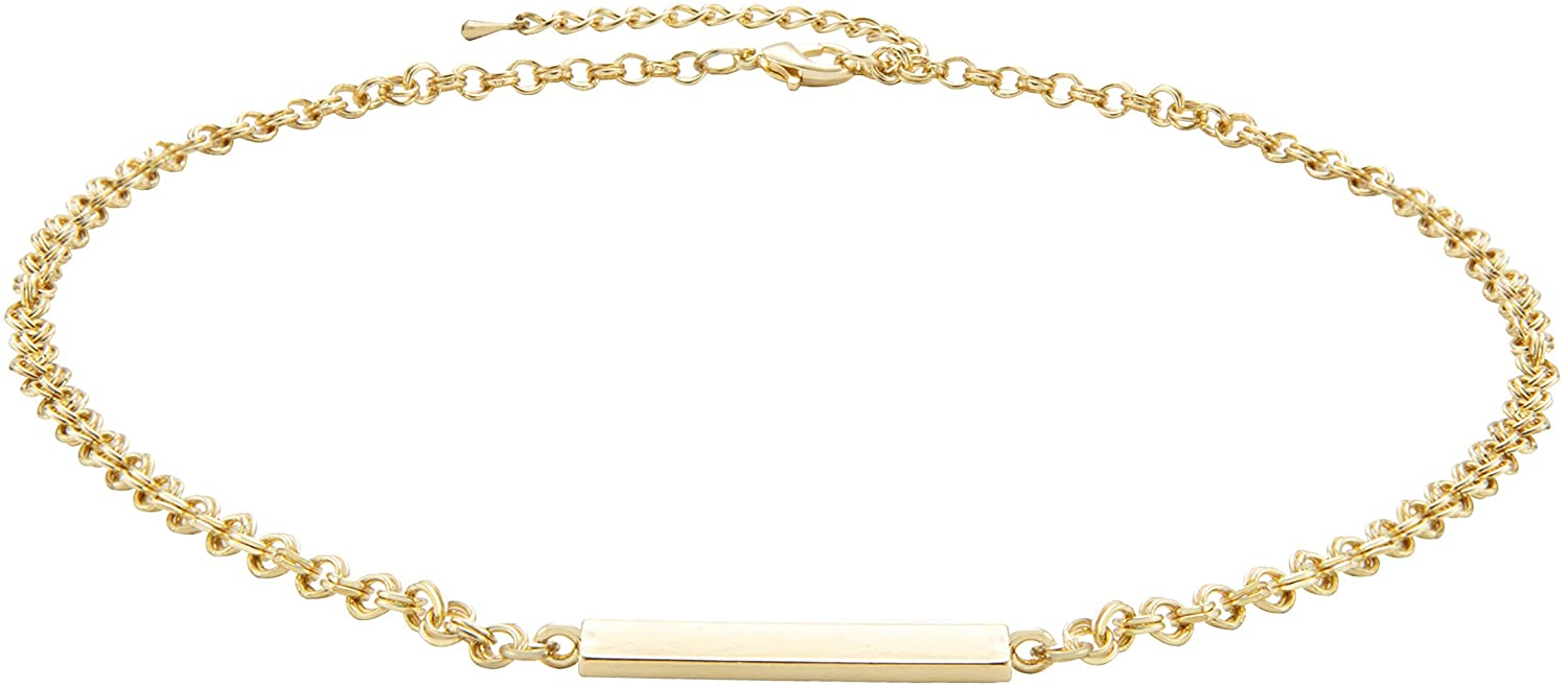 NUZON 14K Gold Plated Double Chain Personalized Horizontal Bar Choker Necklace Simple Geometric Jewelry for Women Girls 15''
