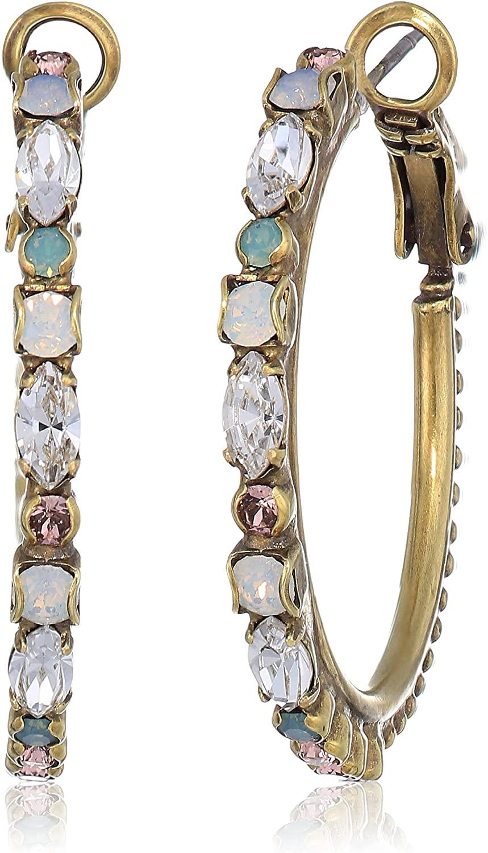 Sorrelli Womens Zinnia Hoop Earrings, Clear, 1.5