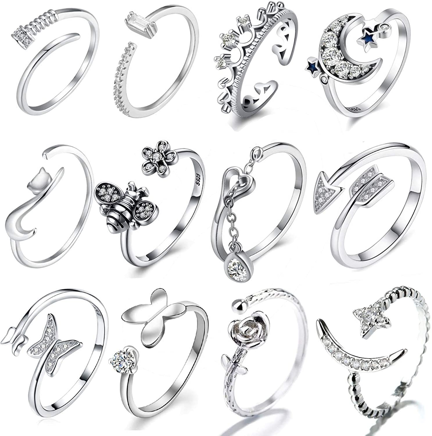 CARSHIER 12 Pcs Silver Plated Multiple Open Rings for Women Vintage Retro Wave Flower Arrow Stackable Thumb Rings Set Adjustable