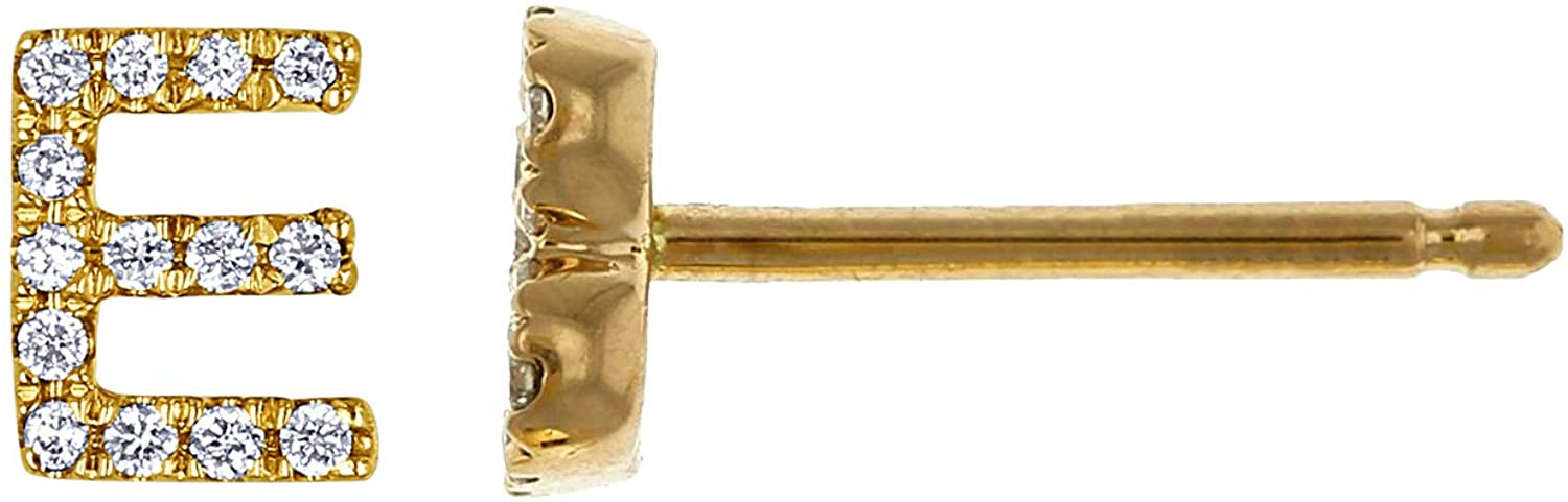 Social Value 14K Solid Yellow Gold Natural Diamond Small 'E' Initial SINGLE Stud Earring (Half Pair)