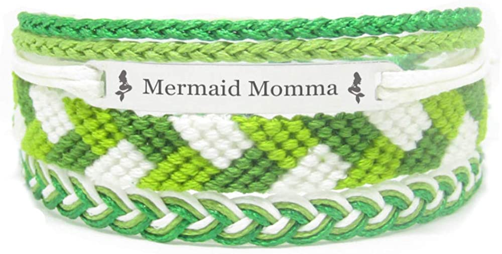 Miiras Family Engraved Handmade Bracelet - Mermaid Momma - Green - Made of Embroidery Thread and Stainless Steel - Gift for Momma