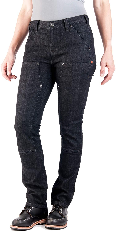 Dovetail Workwear Utility Pants for Women - Maven Slim Fit Stretch Cargo Pant, Black Denim, Size 12, 34