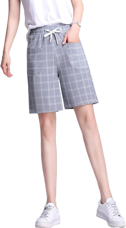 Women's Plus Size Casual Elastic Waist Knee Length Bermuda Shorts with Drawstring, S-3XL