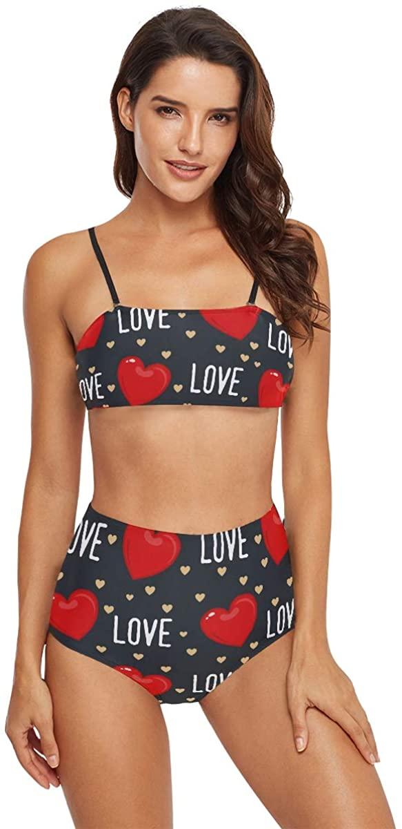 MCHIVER Swimsuit High Waisted Women Bikini - Cute Valentine Heart Bathing Suits High Cut Swimwear