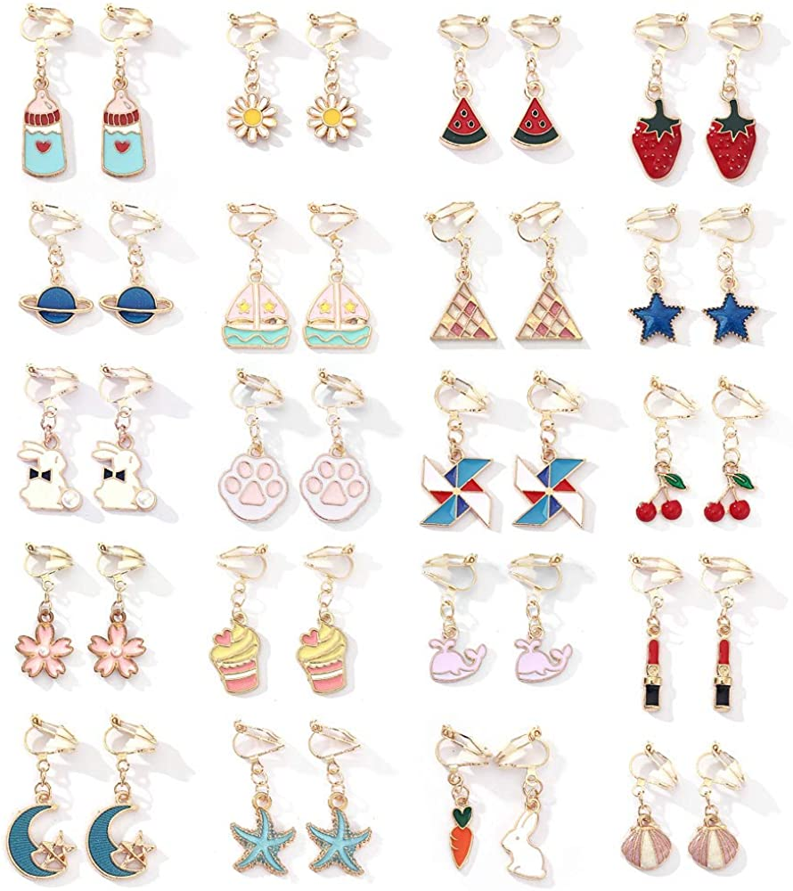 20 Pairs Aassorted Clip on Earrings for Girls Cute Animal Flower Moon Star Clipon Earrings for Women Lady Party Accessory