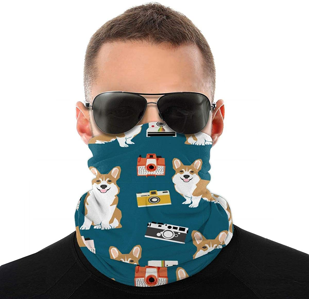 Corgi Face Scarf Neck Gaiter Tube Variety Head Scarf, Multifunctional Bandanas & Balaclava Anti Dust
