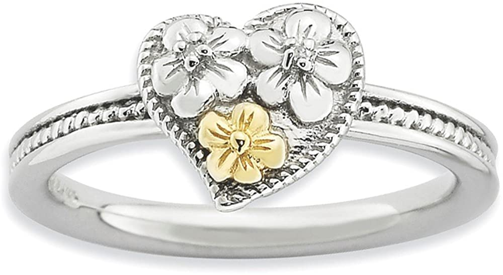 Sterling Silver and 14k Stackable Expressions Diamond Heart Ring Size 5