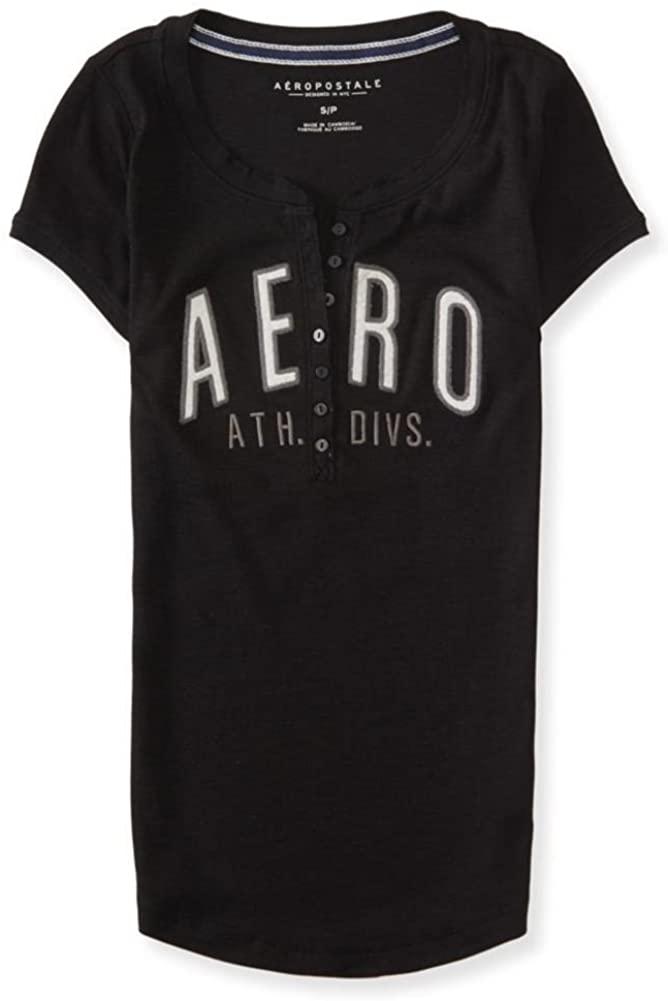 AEROPOSTALE Womens Ath. Div. Logo Henley Shirt