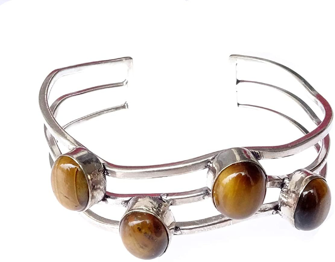 Tiger Eye Gemstone 925 Sterling Silver Plated Fashion Cuff Bracelet for Women Girls Handmade Unique Fine Design Tribal Boho Bangle Bracelet by Indian Artisan