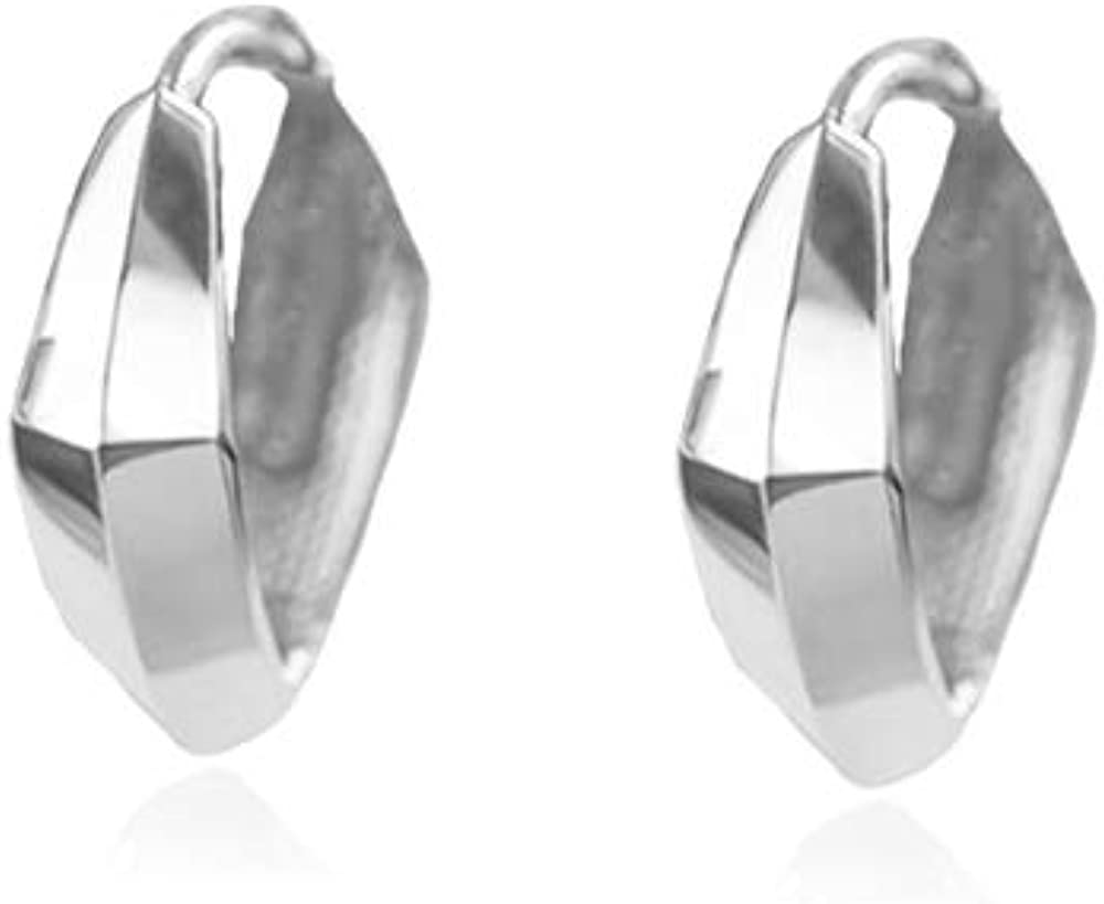 Small Chunky Hoop Earrings for Women Girls 925 Sterling Silver Tiny Cute Minimalist Geometrical Wide Cuff Cartilage Sleeper Huggie Hoops Hypoallergenic Fashion Jewelry Gifts 2 Sizes
