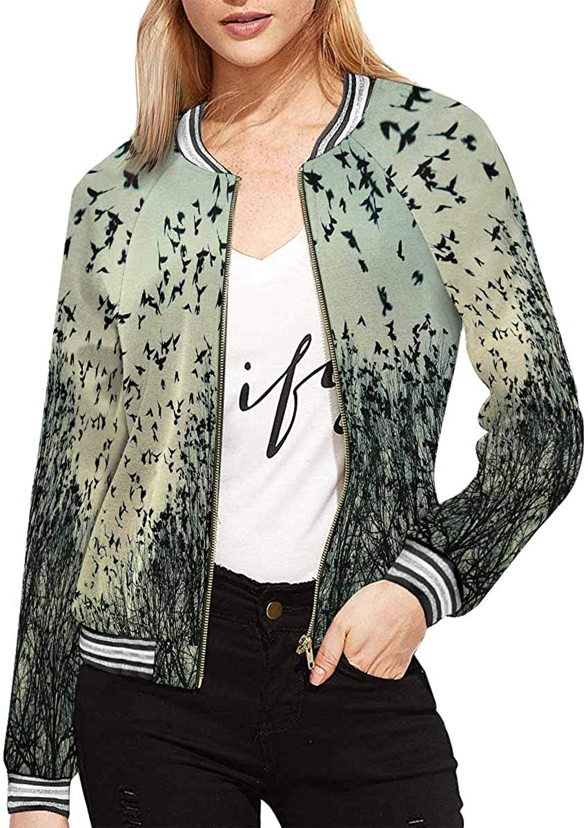 INTERESTPRINT Women's Jackdaws Go to Their Collective Sleeping Place Baseball Jacket Coat