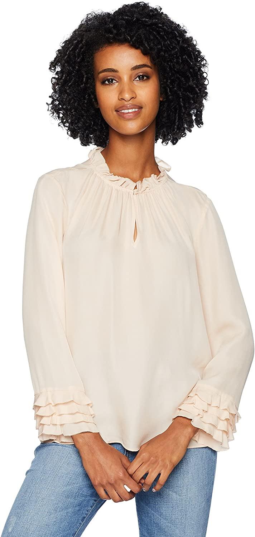 Rebecca Taylor Women's Long Sleeve Georgette Ruffle Top