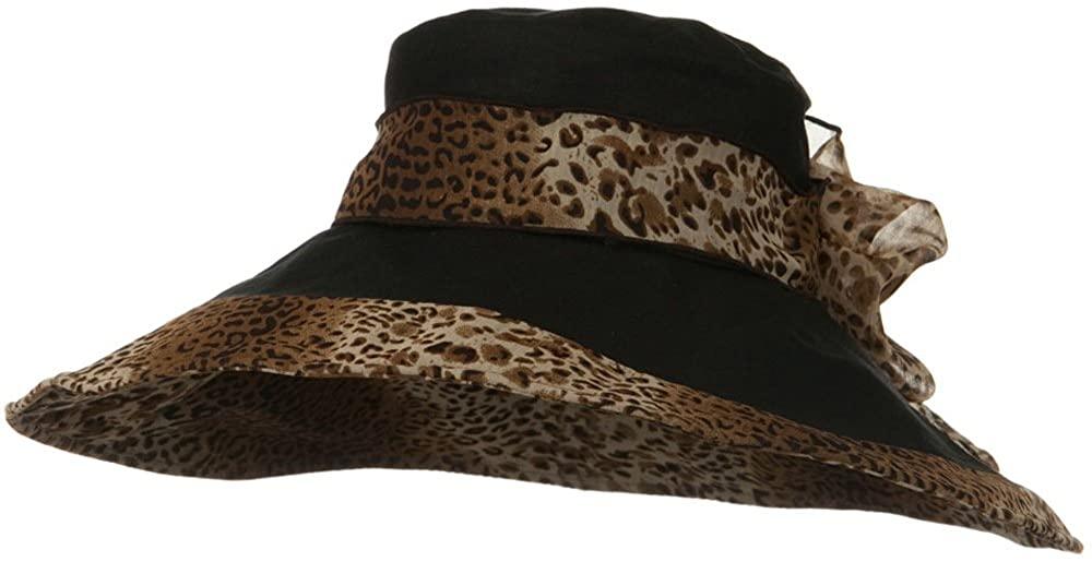 Woman's Hat Cheetah 6 Inch Wide Brim Hat - Black