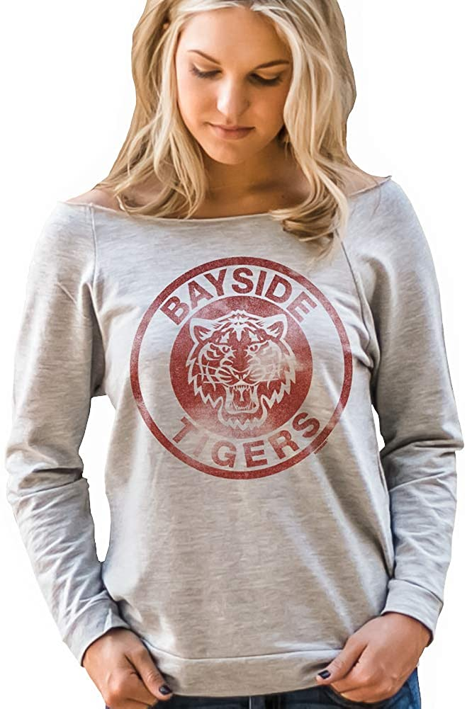 Superluxe Clothing Bayside Tigers Womens Kelly Kapowski Off The Shoulder Wide Cut Neck Top