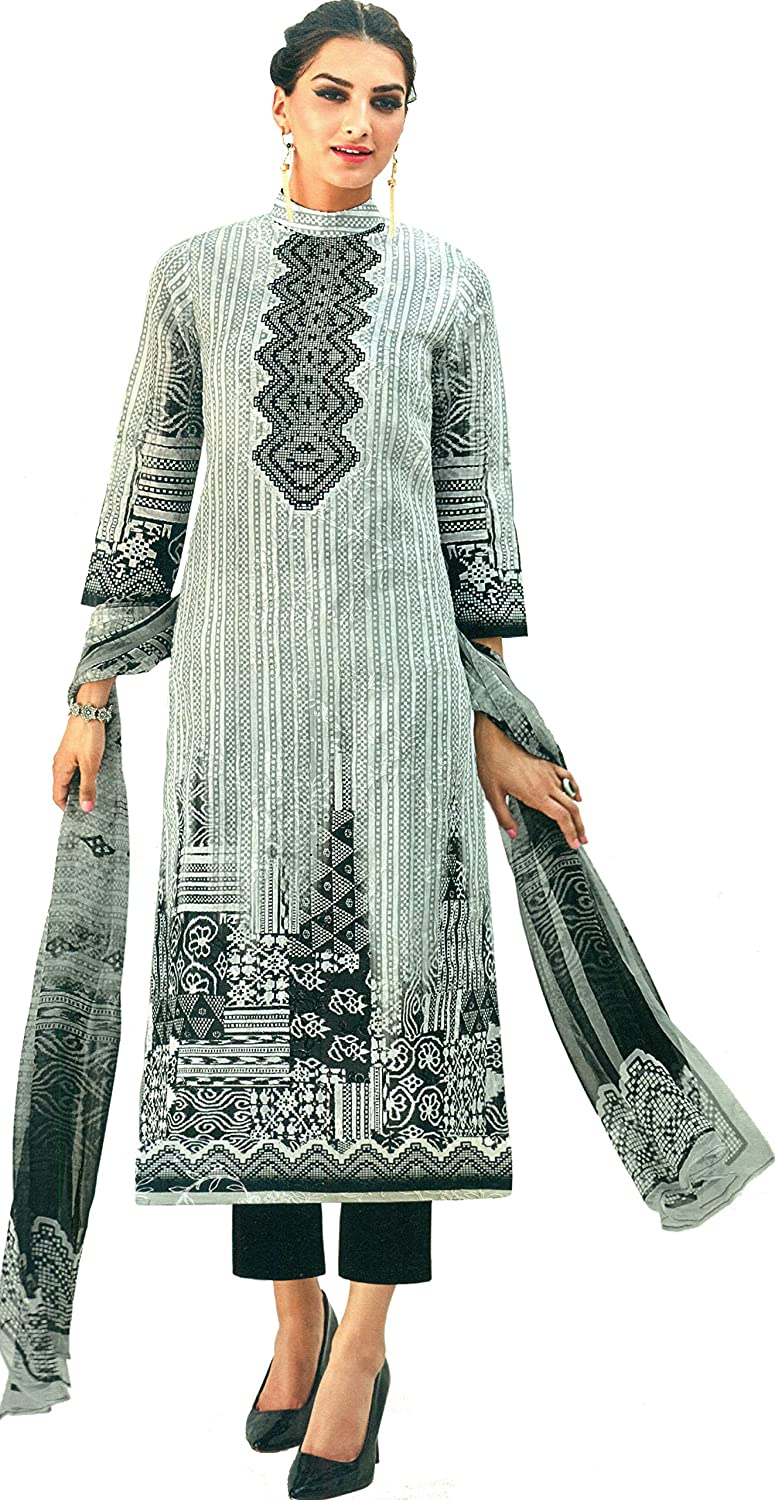 Exotic India Gray and Black Trouser Salwar Kameez Suit with Digital Print - Grey
