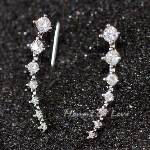Harva 1 Pair Fashion Women Crystal Earring Ear Cuff Love Heart Earring Jewelry - (Metal Color: Silver)