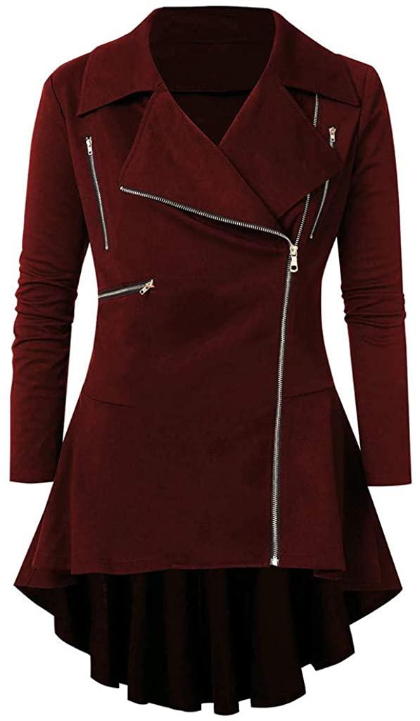 Jumaocio Coats Jacket Womens Oblique Turn Down Collar Irregular Hem Trench Coat