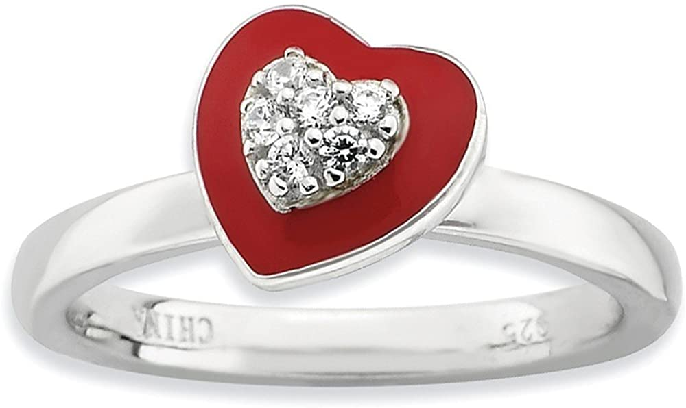 Beautiful Sterling silver 925 sterling Sterling Silver Stackable Expressions Polished Enameled/CZ Heart Ring