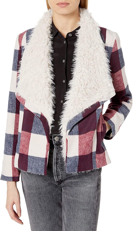 Jack by BB Dakota Women's Plaid Jacket, Ivory, Extra Small