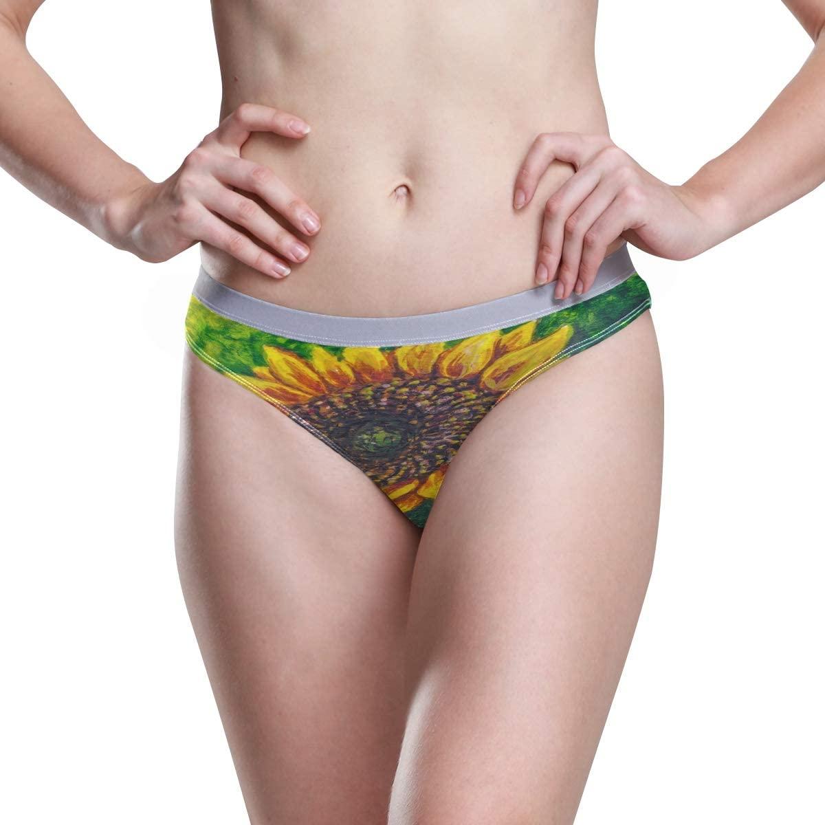 Womens Underwear Sexy Panties Sunflower with Seeds On The Farm Ladies High Cut Bikini Hipster Panty