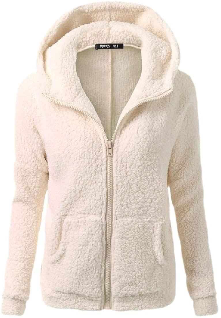 RRINSINS Womens Winter Warm Hooded Faux Fur Zip Up Outwear Jacket Outwear