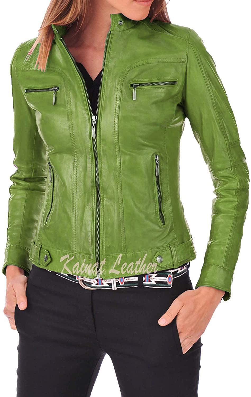 KAINAT Women's Lambskin Leather Craft Bomber Biker Jacket 70