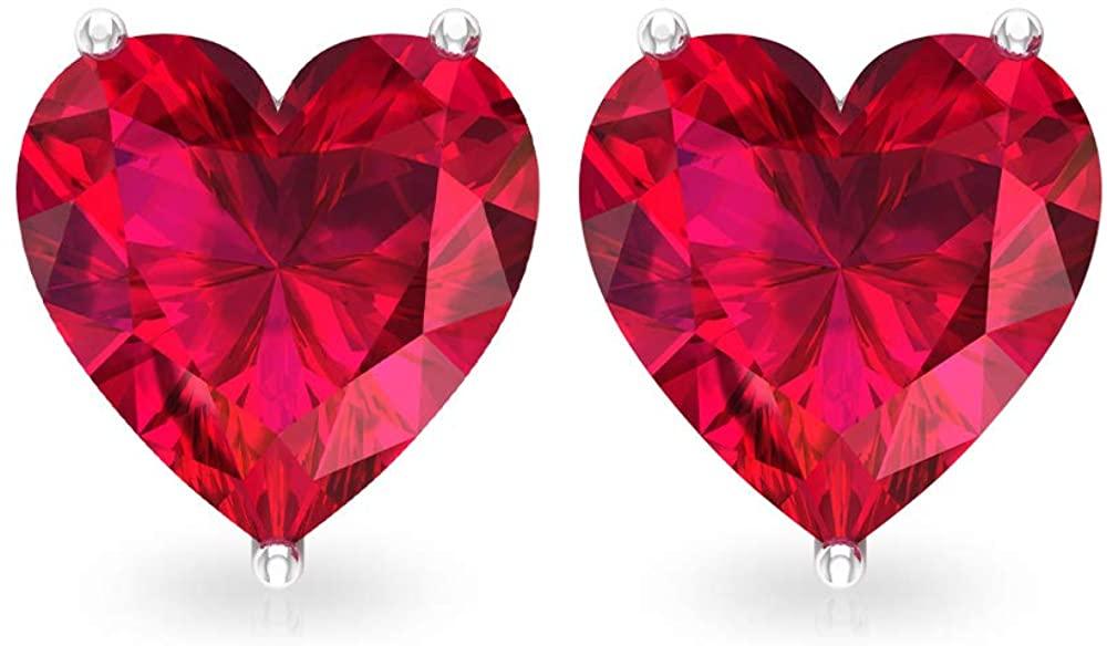 3 Ct Certified Ruby Glass Filled Earring, Statement Solitaire Wedding Stud Earring, Heart Shape Gemstone Bridal Earring, Unique Women Promise Earring, Screw back