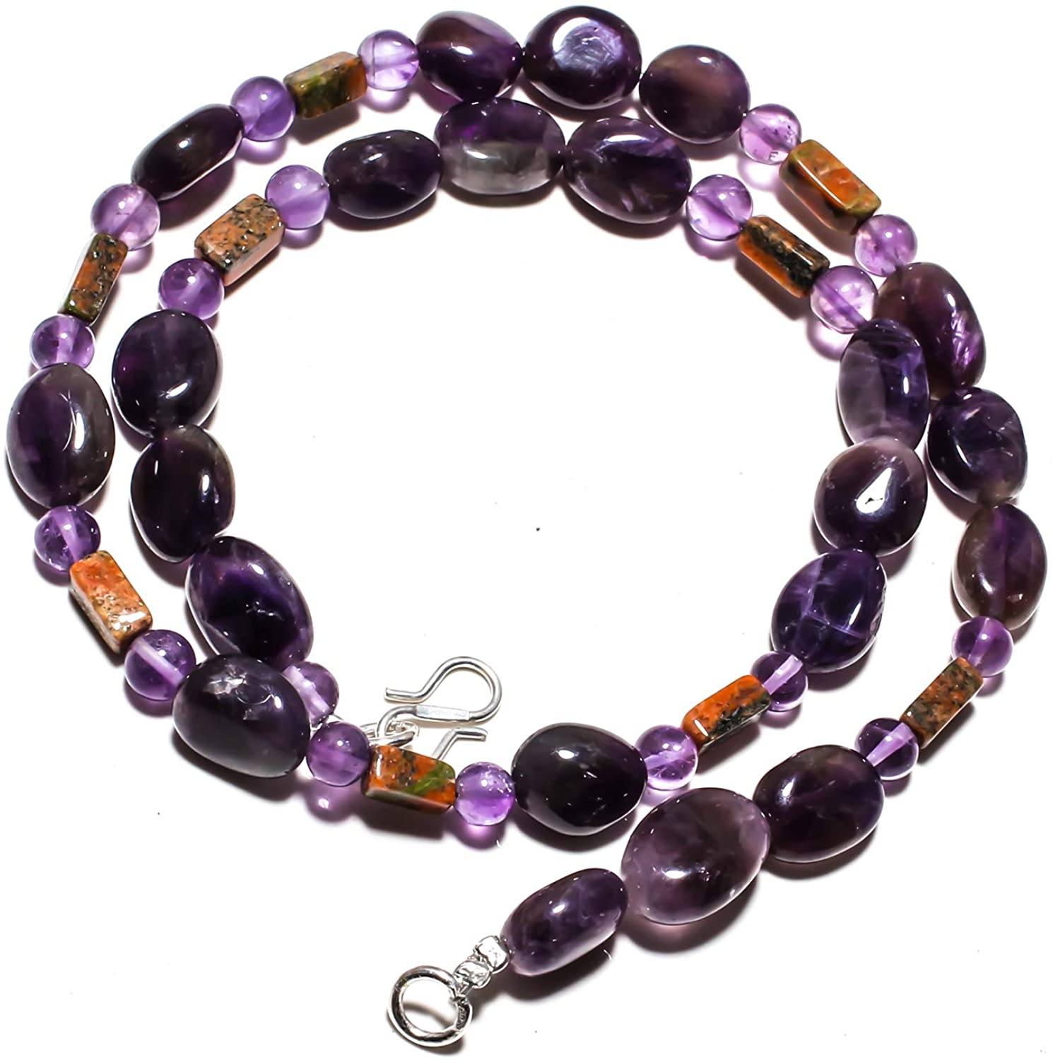 kanta incorporation Amethyst Sage Natural Gemstone Beads Jewelry Necklace 17