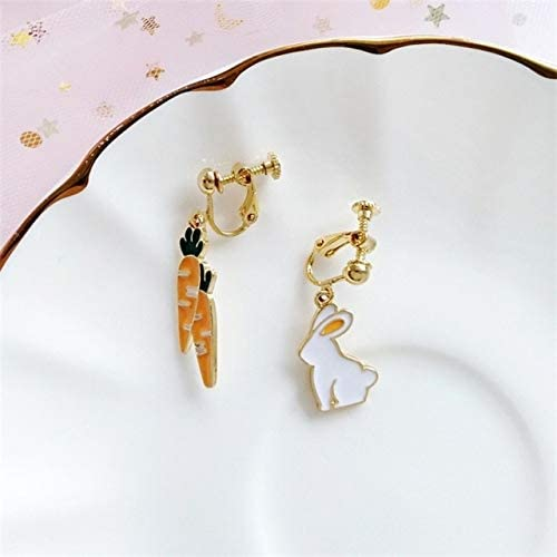 New Japanese Korean Fashion Cartoon Alice Anime Rabbit Ear Clip Bunny Carrot Playing Cards Asymmetric Earrings for Women Jewelry - (Metal Color: Style-12 Ear Clip)