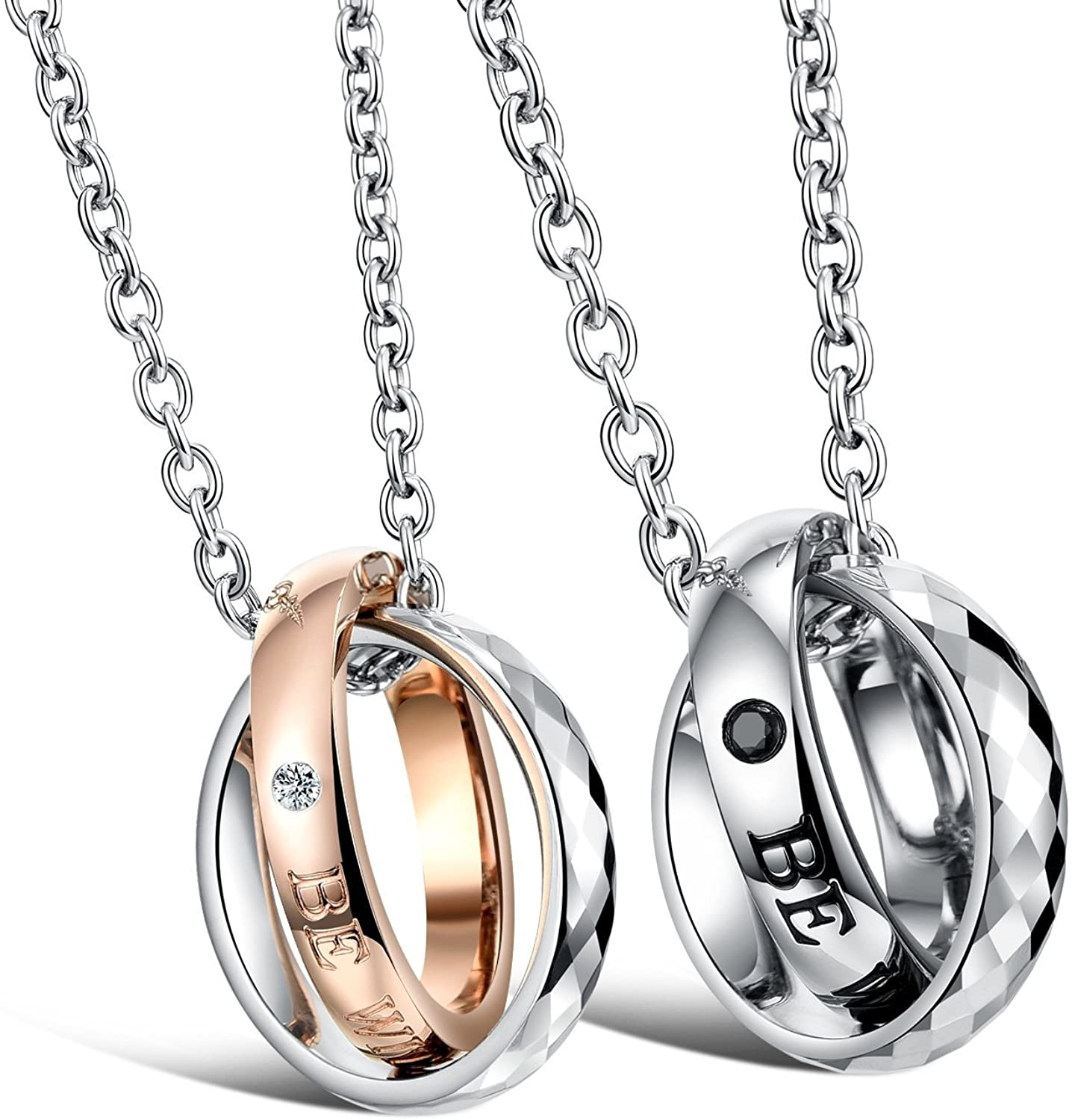 His & Hers Matching Set Titanium Stainless Steel Couple Pendant Necklace Love Style in a Gift Box (A Set)