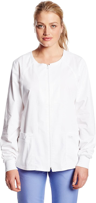 CHEROKEE Women's Workwear Core Stretch Warm Up Scrubs Jacket, White, Small