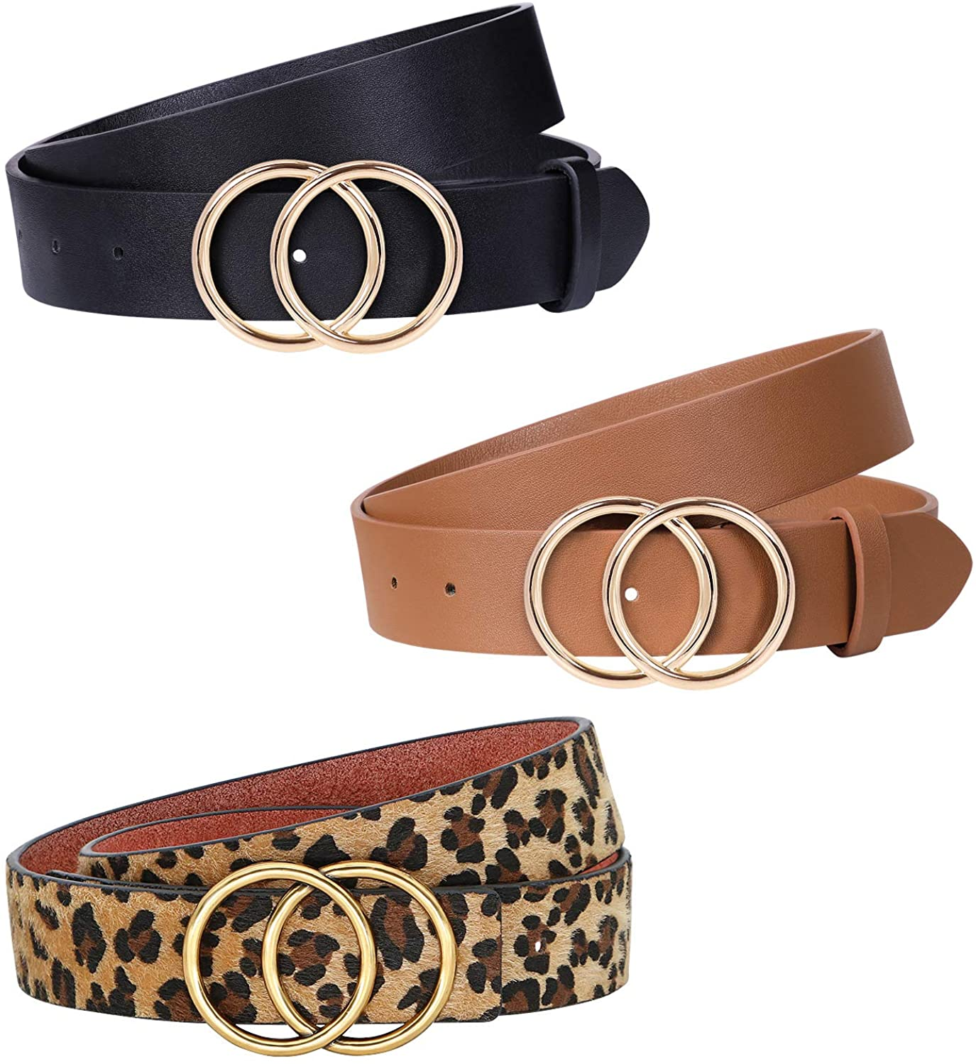JASGOOD 3 Pack Women Leather Belt for Jeans Pants, Ladies Waist Belts with Double O-Ring Buckle