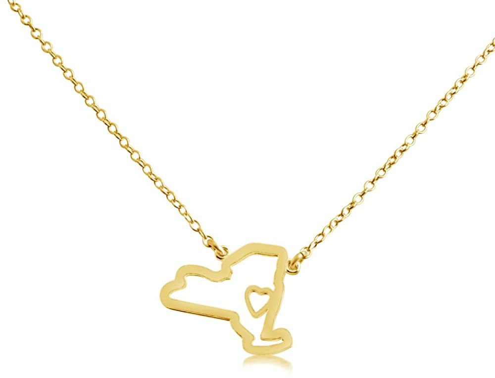 Belcho USA 14k Gold Plated Over 925 Sterling Silver Small New York -Home Is Where the Heart Is- Home State Necklace